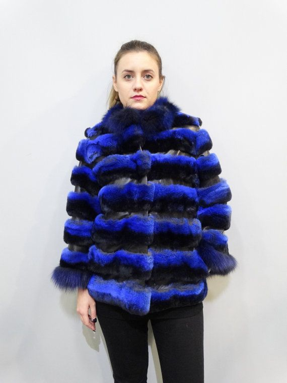 Blue Fur JacketReal Rex Fur with Leather by FilimegasFurs on Etsy