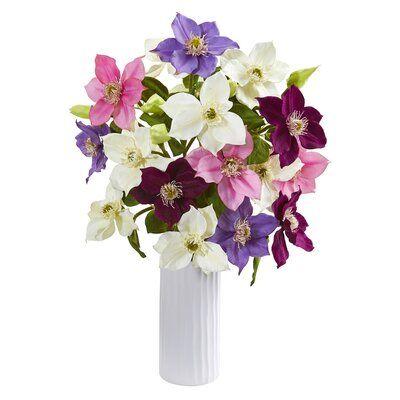 Decorative Natural Looking Artificial Pink Azalea w//Vase Silk Faux Spring Plants