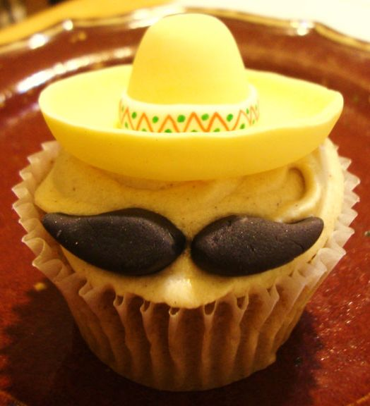 Cinco de Mayo Hostess Gift:  Bring Cupcakes with Sombrero & Mustache Fondant Toppers by Sugar Shack Cupcakes at Etsy
