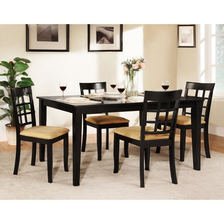 Rectangle Black Dining Table Set   60 In. With Window