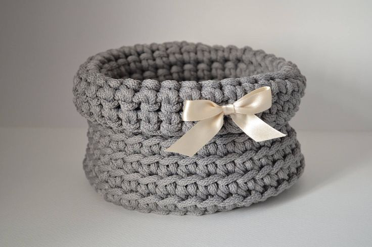 Gray basket/ handmade/ rope crochet/ storage basket/ home decor by iKNITSTORE on Etsy