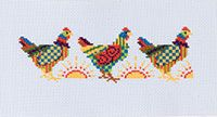 Stitch one rooster for a coaster or an ornament, or stitch two or more for a towel band or even a fun bookmark. Use the colors noted or change it up to match your kitchen decor or just to make your roosters a bit more funky or more traditional. Free pdf