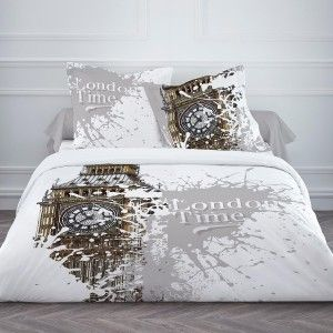 Housse de couette LONDON TIME 220 x 240 en coton