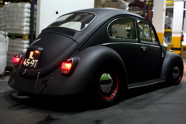 Murdered-out VW Beetle.