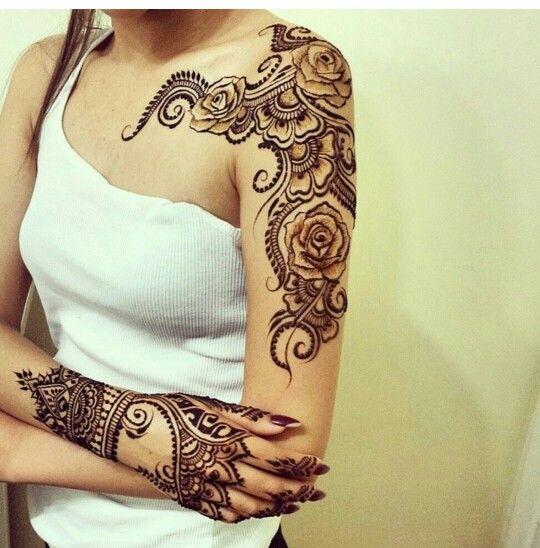 Very pretty rose henna - hand glove would make a great inspiration for a henna piece - henna artist?