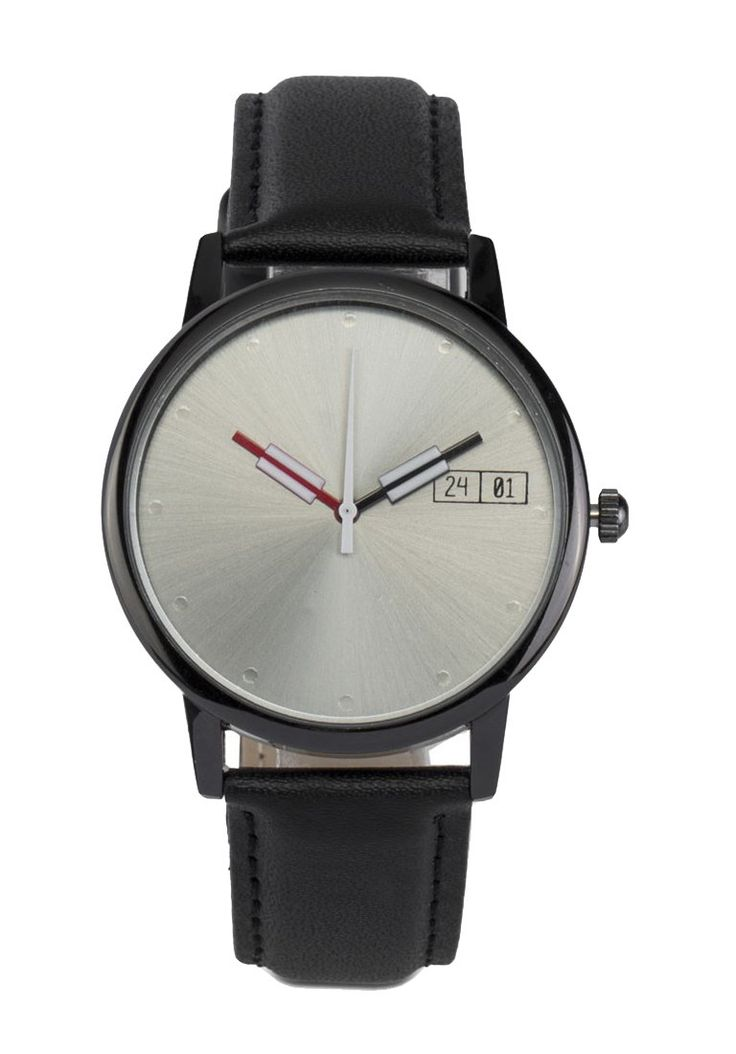 Men's Faux Leather Strap Watch by 24:01 . Black faux leather with round shaped case that made from metal, faux leather strap, minimalist style watch for everyday use, buckle detail, case dimension 4cm, strap length 25 cm.    http://www.zocko.com/z/JFqot