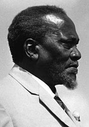 Jomo Kenyatta (20 October 1893, Gatundu -22, August 1978, Mombasa) was the leader of Kenya from independence in 1963 to his death in 1978, serving first as Prime Minister (1964-64) and President (1964-78). He is considered the founding father of the Kenyan nation. He is also the father of Kenya's 4th and current President Uhuru Muigai Kenyatta. He is an alumni of the London School of Economics.