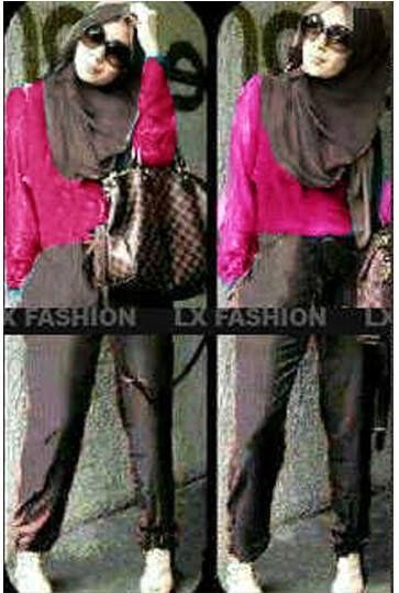 Jolly Lovely Pink Editon 3 in 1 Set, Bahan Spandek ( Blouse + Celana Pinggang Karet + Pashmina ) Fit L Harga : Rp. 87.500,-/set Kode Produk / Product Code : C2521
