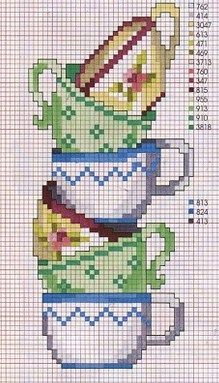 stacked teacups cross stitch - Google zoeken
