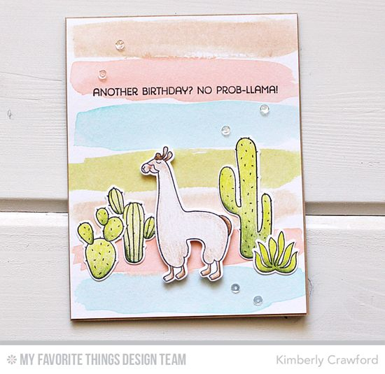 Handmade card from Kimberly Crawford featuring  Llama Love stamp set and Die-namics #mftstamps
