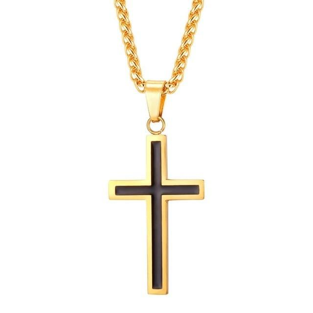 "Women Men Cross Necklaces & Pendants Stainless Steel Pendant Gold Color Gift Necklace, 1 pendant,1 necklace,paper card, OPP bag, silk pouch(gift)   Fast ship and send with""FREE GIFT"" by thehotproducts.com.   Thanks"