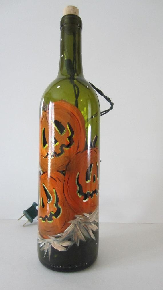 JackO Lantern Lighted Wine Bottle by EverythingPainted on Etsy, $20.00