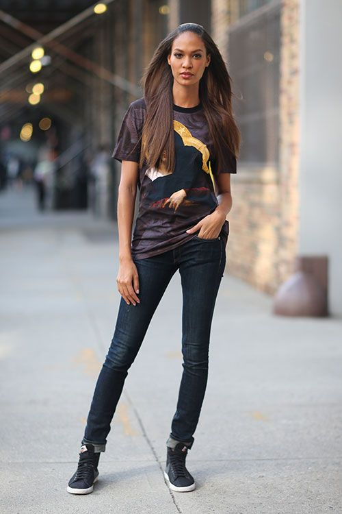 street style look that you could try with the sneakers at home..