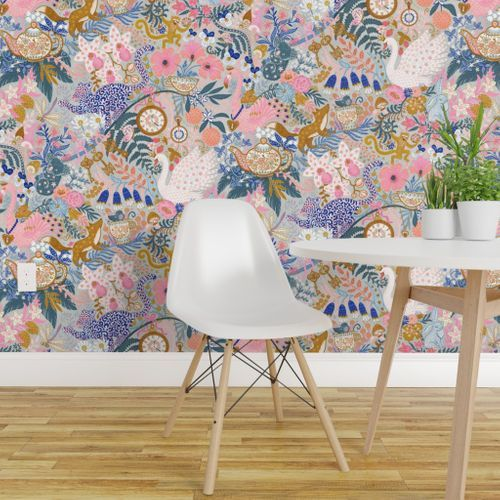 Colorful Fabrics Digitally Printed By Spoonflower Tea Time At Wonderland 14 Removable Wallpaper Chinoiserie Wallpaper Quick Decor