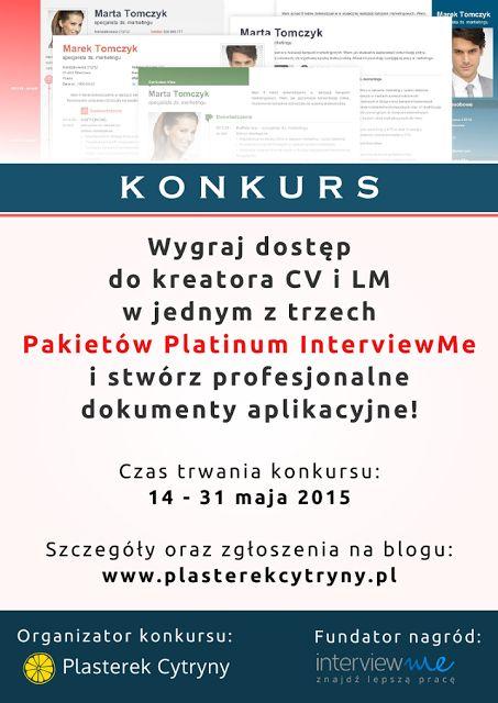Plasterek Cytryny: Konkurs: wygraj pakiet szablonów CV od InterviewMe!