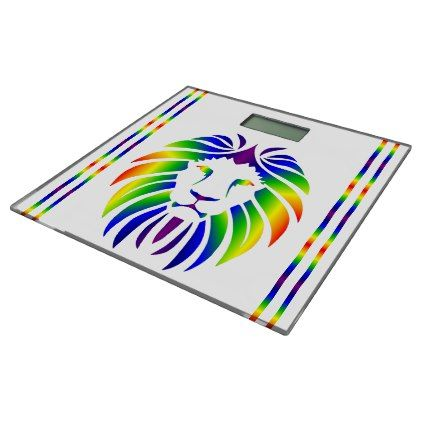 Rainbow Lion on White Bathroom Scale - trendy gifts cool gift ideas customize