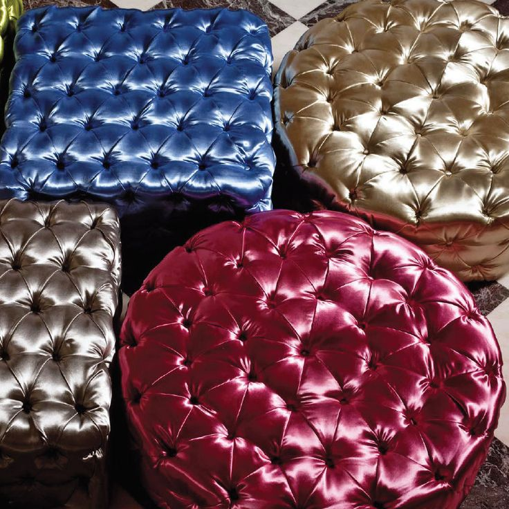 Royal Poufs   These amazing poufs are perfect if you need some comfortable seats but also don't want to take some space. These will make your dining room look stylish and bright. They are available in different colours and shapes.