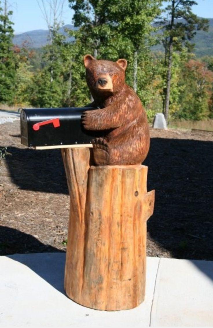 Bear on a tree stump mail box got pinterest