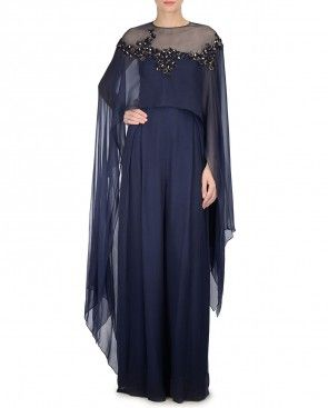 Dusk Blue Jumpsuit with Embroidered Cape