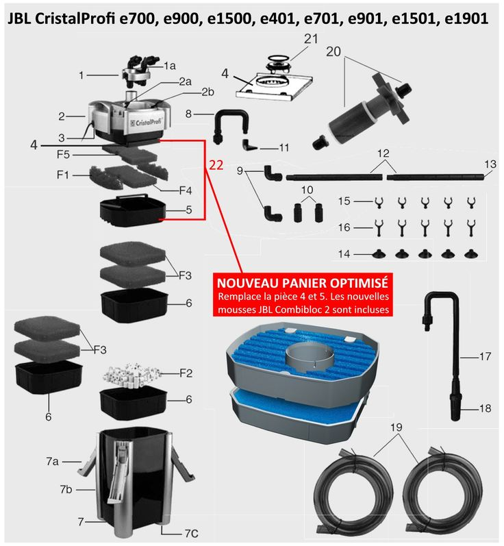 pièces-détachées-pour-filtres-externes-jbl-cristalprofi-e700-e900-e1500-e401-e701-e901-e1501-e1901