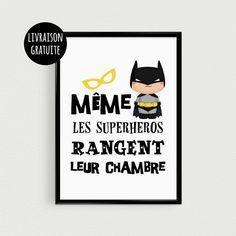"""Poster A4 superhéros pour enfant - """"Même les superhéros rangent leur chambre"""" - Affiche citation de super héros - Poster"""