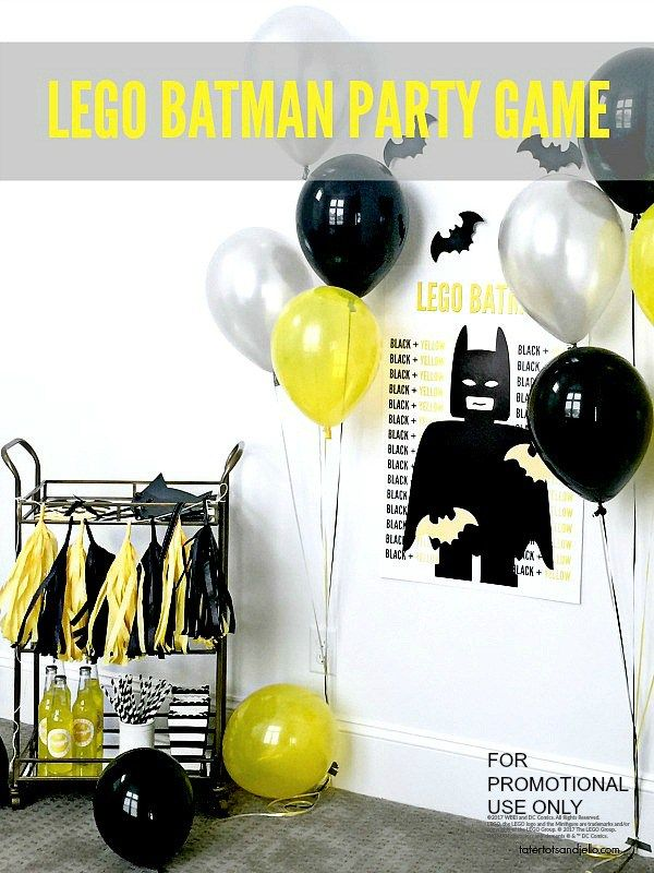 Lego Batman Party with free pin the bat on batman game printables. print them off for your batman party!