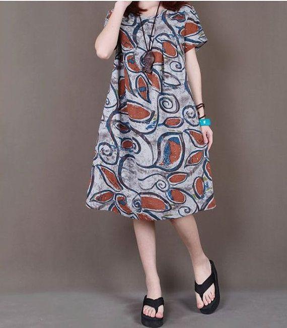 Gray linen Skirt maxi dress short sleeve by originalstyleshop, $59.90