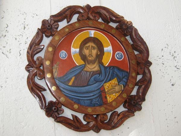 Pantocrator in carved wooden frame #byzantine