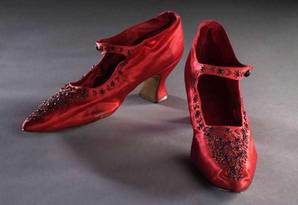 Pair of red silk beaded ladies shoes, 1905.
