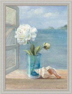 amazoncom coastal floral i by danhui nai blue bath bathroom wall art print