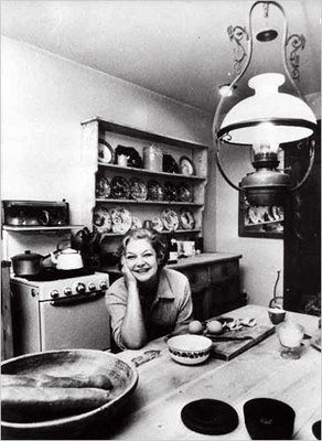 Food writer Elizabeth David, who liked to write at the kitchen table (as the title of one of her books suggests)