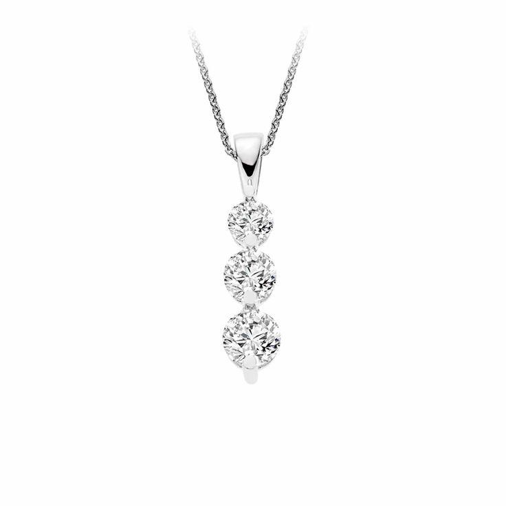 Three Stone Drop Diamond Pendant in 9K White Gold (0.30ct tw.) | The Diamond Channel, Johannesburg