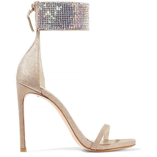 Stuart Weitzman Cufflove embellished glittered mesh sandals found on Polyvore featuring shoes, sandals, heels, high heeled footwear, zipper shoes, stuart weitzman shoes, embellished shoes and glitter sandals