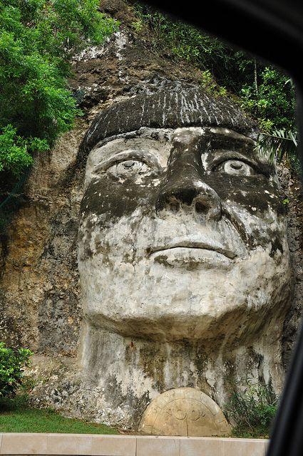 Puerto Rico, On the way to Aguadilla and Rincon you see this guy La cara de el Indio Isabela