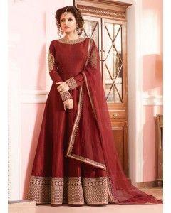 Brown Floor Length Georgette Anarkali Suit