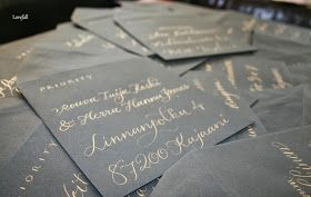 Save The Date - envelopes with gold ink on black envelope. Stunning! Client was http://lovefall2014.blogspot.fi/2013/12/upeat-save-date-kirjekuoremme-toteutti.html