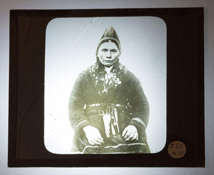 PHOTOGRAPHIE ANCIENNE FEMME INUIT Esquimau Plaque verre lanterne magique