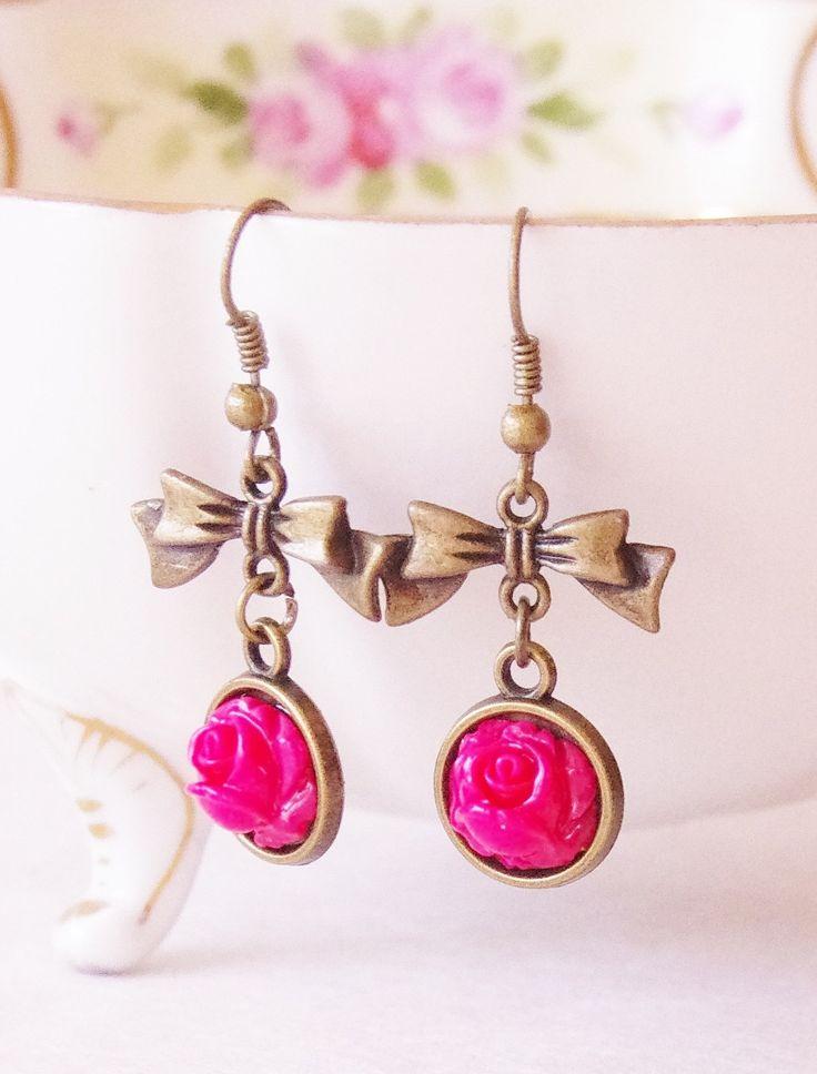 Romantic Earrings, Rose Bow Earrings, Dangle Earrings, Flower Dangle Earrings, Rose Red Flower Bow Earrings, Retro Flower Dangle Earrings by SmittenKittenKendall on Etsy