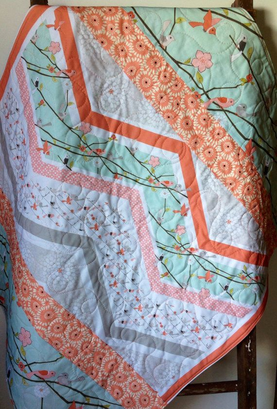 Hey, I found this really awesome Etsy listing at https://www.etsy.com/listing/191796904/baby-quilt-girl-woodland-cottage-coral