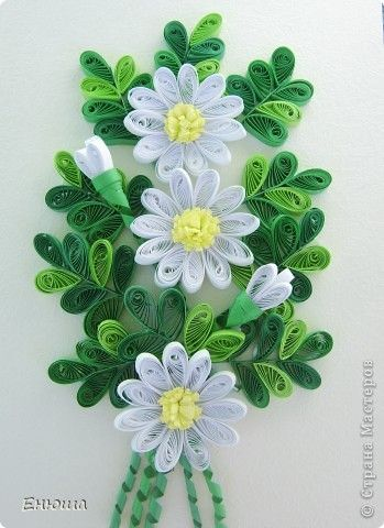 Postcard Quilling:  Daisies