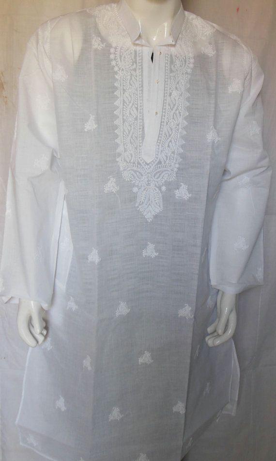 White Mens Clothing Sherwani Embroidery Costume Caftan