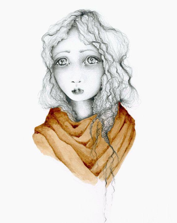 Fine Art Print Giclee Print of my Original Pencil Drawing Coffee Staining Dark Brown Minimalist Evocative Portrait Sad Girl Art