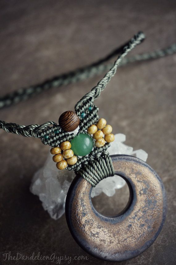 macrame necklace with ceramic focal by TheDandelionGypsy on Etsy, $27.50