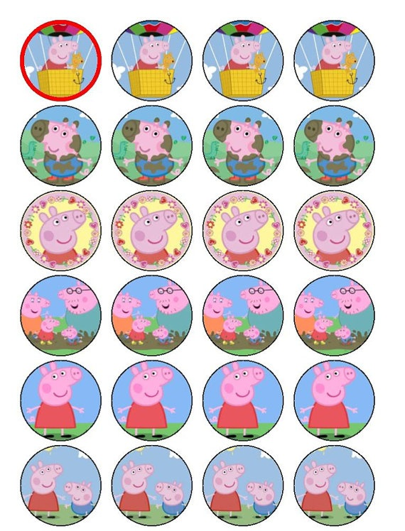24 Peppa Pig Cupcake Toppers di PPGifts su Etsy, £1.99