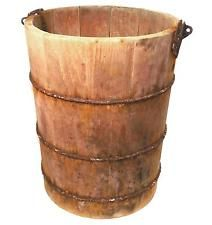 Antique Country Primitive Wooden Ice Cream Maker Bucket Rustic Wood Garbage Can