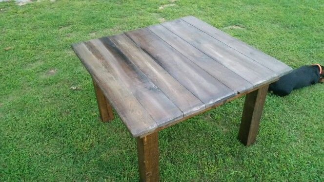 4'x4' rustic farm table $225 . Www.facebook.com/surenuffrustic