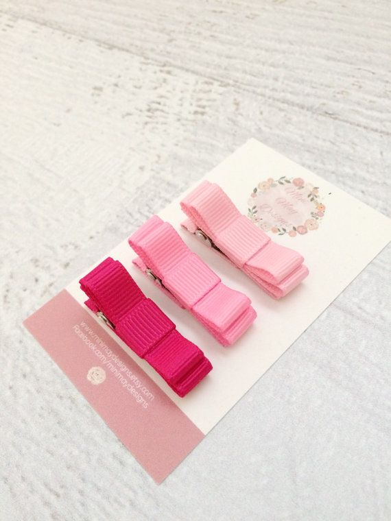 Girl's Hair Bows  Pink Hair Bows  Ribbon Hair by MiniMayDesigns
