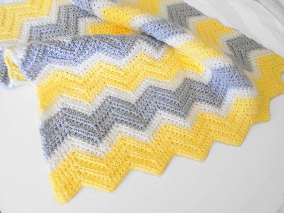 Crib Size Crochet Chevron Baby Blanket in Yellow, White and Light Grey