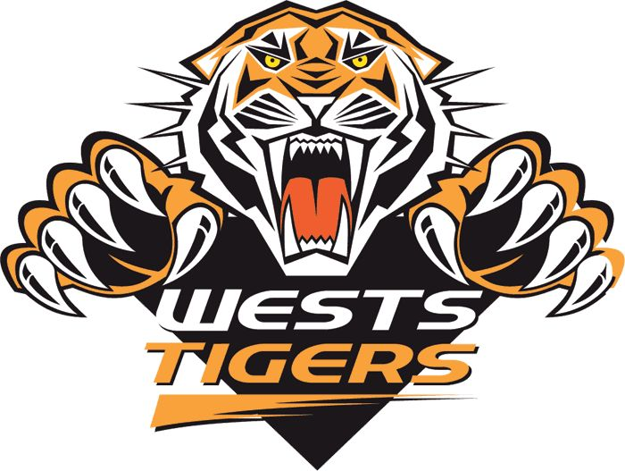 Wests Tigers Primary Logo (2000) - An orange and black tiger leaping