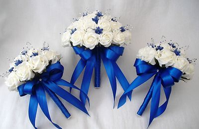 POSIES - ARTIFICIAL WEDDING FLOWERS - BRIDES POSY BOUQUET AND 2 BRIDESMAIDS POSIES, IVORY & ROYAL BLUE